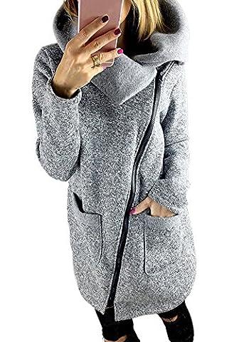 Minetom Manteaux Hiver Femme Grande Taille Veste À Capuche Manteau Longue Jumper Sweatshirt Chemisiers Outwear Hoodie Sport Gris FR 48