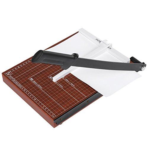 Meditool Cortador de Papel A3 B4 A4 Guillotina de Papel,32.5 x 25.5 x 3cm,Base de Madera,Rojo oscuro (A4)