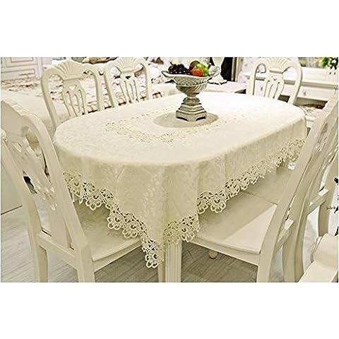 Moda Beige Hollow Tabella stuoia di tessuto Tovaglia rotonda panno Tavolino Tovaglia sedia set da scrivania Panno TV Cabinet Panno ( dimensioni : 16# )