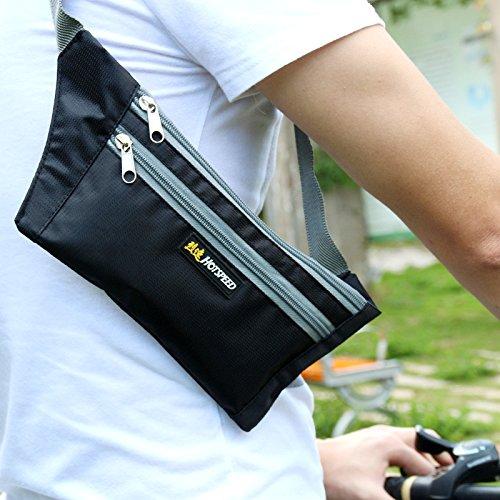 Kayboo Marsupio Sportivo Cintura da Corsa Running Borsa con Fasce Regolabile Impermeabile per Uomo Donna per Viaggi Escursioni Corsa Gite in Bicicletta (azzurro) nero