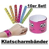 Lg-Imports 10x Klatscharmband Schnapparmband Armband Mitgebsel Tombola Geburtstag Smiley bunt