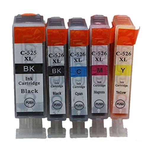 Preisvergleich Produktbild Kompatible Tintenpatronen Ersatz für Canon PGI 525XL 525 XL CLI 526XL 526 PGI-525 PGI-525XL CLI-526 CLI-526XL PGI-525XL CLI-526XL Tintenpatronen Hohe Kapazität kompatibel für Canon PIXMA IP4850/IP4950 IX6550 MG5150 MG5250 MG5350 MG6150 MG6250 MG8150 MG8250 MX715 MX885 MX895 Tintenpatronen für Inkjet Drucker (1 Grossen Schwarz,1 Klein Schwarz,1 Cyan,1 Magenta,1 Gelb)