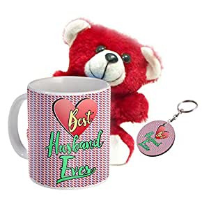 Sky Trends Wonderful Combo Gift Set Printed Coffee Mug Keychain Teddy Gift For Propose Day Rose Day Hug Day Kiss Day Valentine & Anniversery Birthday STG-21