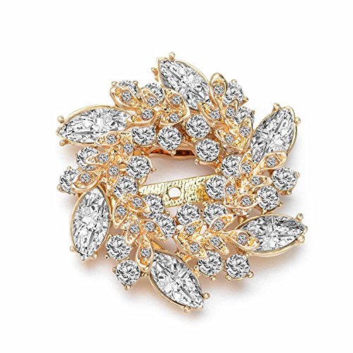 Wonvin Blume Kristall Brosche Pins Schnalle für Pullover Schal Mantel 18K Vergoldet Vintage Christmas Broschen für Frauen Weiß