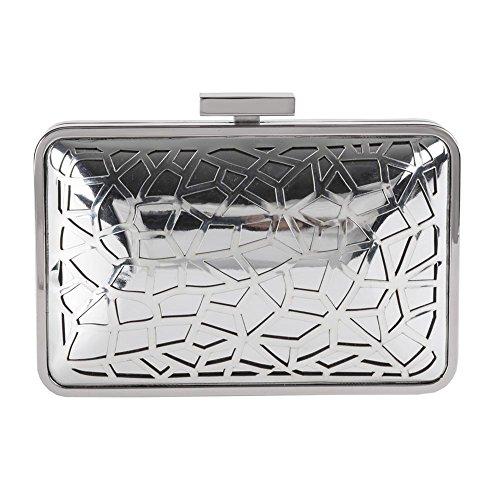 Borsa clutch Celine in metallo satinato - Anna Cecere Argento