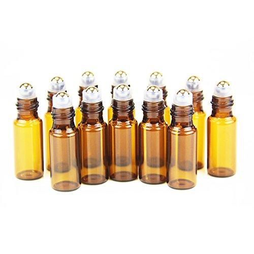One Trillion Braune Roll On Flasche Leer 5ml, Roll-on Glasflaschen Klein mit Edelstahl-Roller Ball,fürÄtherisches Öl,Aromatherapie-Gemische,Parfüm,Massage - 12Pcs