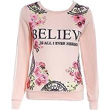 Las mujeres floral camiseta impresa de la camiseta de manga larga de la caída ocasional Top