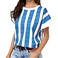 CRYYU Women Short Sleeve Stripe Round Neck Casual Slim Top Blouse T-Shirt Blue XXS
