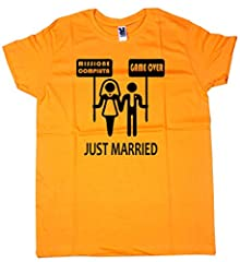 Idea Regalo - Centro Stampa Brianza T-Shirt Addio al Celibato - Just Married - Celibato - Nubilato - Magliette per Addio al Celibato