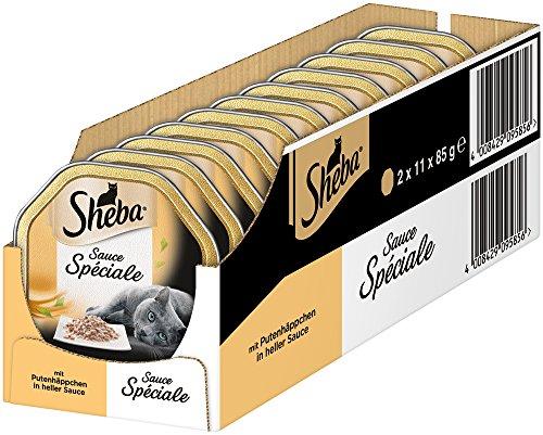 Sheba Sauce Spéciale Katzenfutter, Putenhäppchen in heller Sauce, 22 Schalen (2 x 11 x 85 g)
