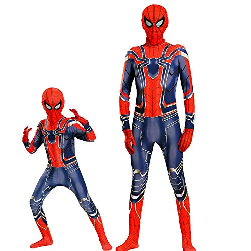 WLDSH Halloween Kids Avengers Eisen und Stahl Spider-Man Kostüm Cosplay Kostüme Filme Anime Party Dress Up Eltern-Kind-Geschenke (größe : 110cm)