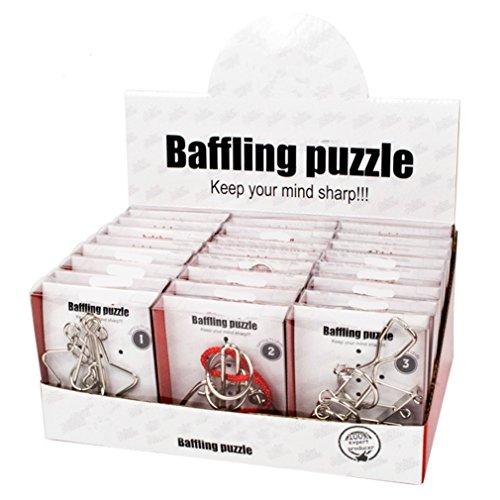 Joyeee 24 Stück Metall Gehirn Teaser ist 3D Knobelspiele Geduldspiele Denkspiel IQ Spiele, Das entwirren Rätsel und Test IQ für Kinder Teenager & Erwachsene Weihnachten Geschenk (Teaser Rätsel Kinder Gehirn Für)
