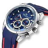 Relojes Hombre Relojes Grandes de Pulsera Deportivos Militar Cronografo Lujo Impermeable Reloj Hombres Correa Goma Luminoso Vestido Casuales Azul