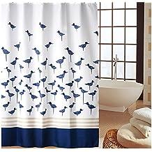Famibay - cortina de ducha a prueba de moho para baño, cortina impermeable de baño con ganchos, poliéster, bird-001, 180x180