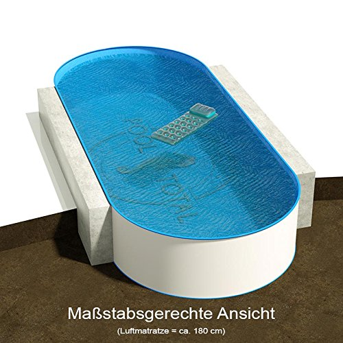 Ovalbecken 10,00 m (L) x 4,00 m (B), Tiefe 1,50 m | Folie 0,80 mm blau | ovales Stahlwandbecken | Pool Made in Germany