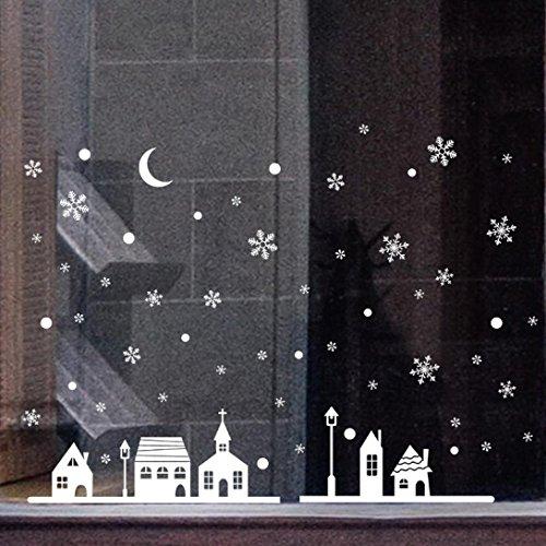 Weihnachten Fenster Aufkleber SOMESUN Christbaumschmuck Schneeflocken-Stadt