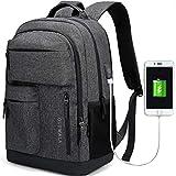 JANSBEN Impermeabile Laptop Zaino per Donna Uomo Scuola Backpack con porta di ricarica USB, Casual Business Uni Zaino Università Daypack per 15.6'' pc Cumputer (nero)