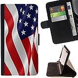 Graphic4You Drapeau Agitant Américain USA États-Unis Amérique Portefeuille Coque Cache Étui Housse de Protection pour Samsung Galaxy S7 Edge