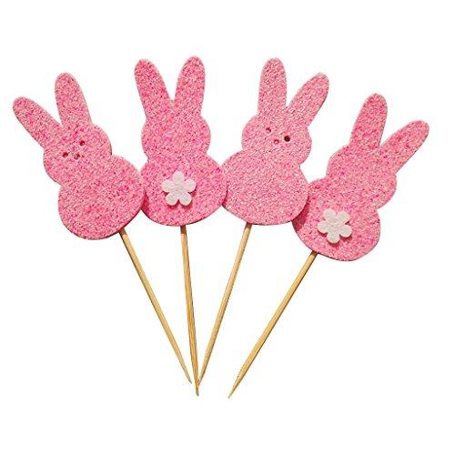 (Lisanl 25 Stück Lovely Happy Osterhase Kuchen Cupcake Toppers Duck Egg Rabbit and Flower Party Birthday Decor Kid 24 Stück Picks Einheitsgröße rose)
