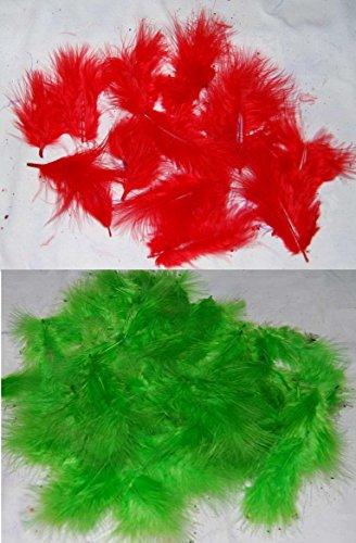 Marabou Craft Federn–Rot und Grün–je 1Stück–Christmas Mix–Durchschnitt von 240Federn für Sammelalben und zum - Halloween Brownie Crafts