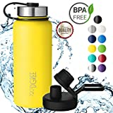 720°DGREE Borraccia Acqua Termica noLimit - 950ml, Giallo, Yellow | BottigliaaAcciaio Inox Isolamento Vuoto | + Gratis Coperchio di Sport