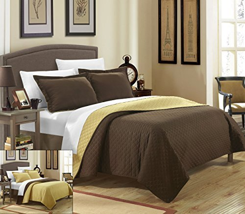 Chic Home 2 Piece Teresa Reversible Color Block Modern Quilt Set, Twin, Gold by Chic Home Reversible Block