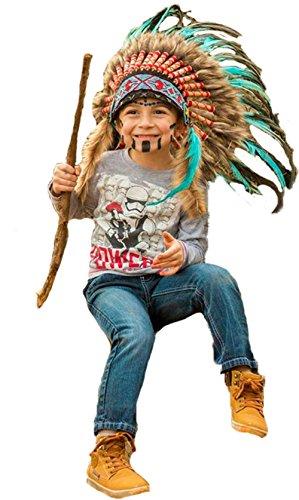 N33- Indianer Kopfschmuck für 5 bis 8 Jahre altes Kind / Kinder, Hut, Warbonnet, Feder Kopfschmuck (Indische Kopfschmuck Kostüm Halloween)