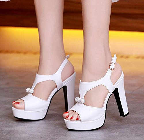 Peep Toe Knöchelriemen Pumps High-Heel Sandalen Wasserdichte Plattform Römische Damen Hollow Damen Schuhe Große Größe White
