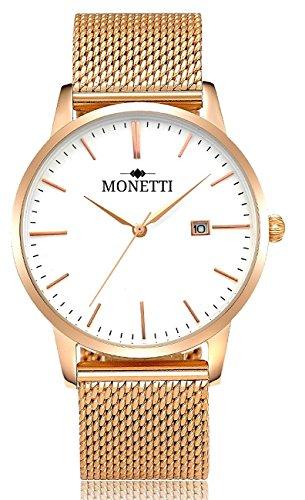 MONETTI Unisex reloj de cuarzo analógico con brazalete de metal de oro rosa en una exclusiva caja de regalo