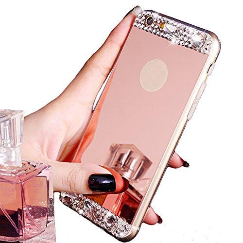5 Backplate (iPhone 6S Schutzhülle, Schwarz Lemon Luxus Beauty Diamant Glitzer Hybrid Bling Soft Shiny Sparkling mit Glas Spiegel Backplate Schutzhülle für Apple iPhone 66S 11,9cm iPhone 5/5S/SE rose gold)