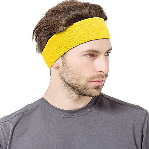VerteLife Sport Schweißband Stirnband für Männer und Damen, Kopf Stirn Baumwolle Frottee Elastische Kopfband Feuchtigkeit Wicking Headband für Laufen, Training, Joggen - Gelb