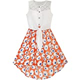 Best Richie House Dress For Kids - Sunny Fashion Girls Dress Chiffon Floral High-Low Tie Review