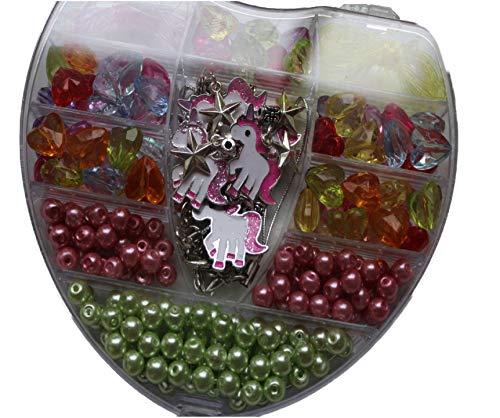Einhorn Glitzer Schmuck Anhänger Kinder Basteln von 5 Armbänder für Kinder Geburtstag Geschenkidee (AcrylPerlen Herz)