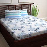 Story@Home 120 TC Cotton Candy Collection 1 Double Bedsheet and 2 Pillow Cover - Floral, Blue