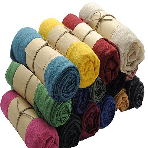 BACKGARDEN® 180 cm x 150 cm de grande taille couleur unie longue écharpe TR coton doux châle rose 1