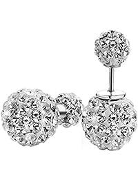 Twinmond Fashion Womens 925 Silver Double Crystal Ball Stud Earrings (Straight Type) muBUR