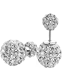Twinmond Fashion Womens 925 Silver Double Crystal Ball Stud Earrings (Straight Type)