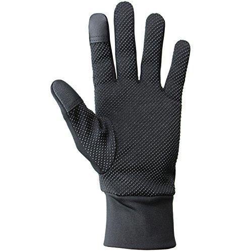Leichte Sporthandschuhe Laufhandschuhe WARM UP von Alpidex Running Handschuhe Unisex Sport Handschuhe Nordic Walking Handschuhe für Damen und Herren mit Touchscreen-Funktion, Größe:M;Farbe:black