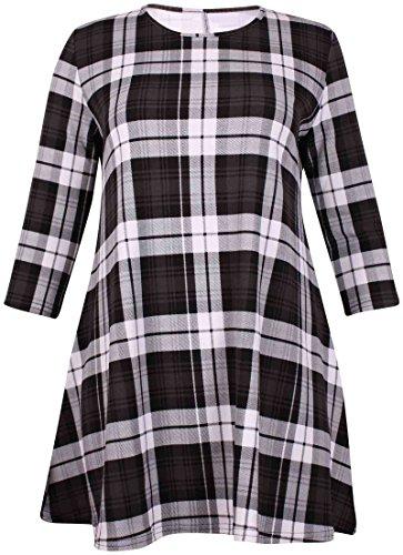 Damen Tartan Karomuster Bedruckte Damen Stretch Runder Halsausschnitt Aufgeweitet Swing Langes Top Kleid Übergröße Grau