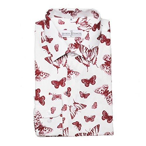 Herren Hemd, 100% Baumwolle, regulŠre Passform, bedruckt mit floralem Paisley-Muster, S M L XL 2XL 3XL 4XL, Kragenweite 37Ð48 cm Dog Print
