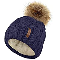 TOSKATOK Ladies Chunky Soft Cable Knit Hat with Cosy Fleece Liner and Detachable Faux Fur Pompom...