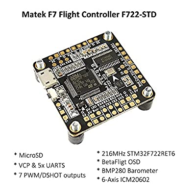 LITEBEE Matek F7 Flight Controller OSD (Intergreted Bateflight OSD, BEC 5V, MicroSD card slot, VCP 5xUARTs, 7 PWM/DSHOT Outputs) for FPV Racing RC Drone Quadcopter by