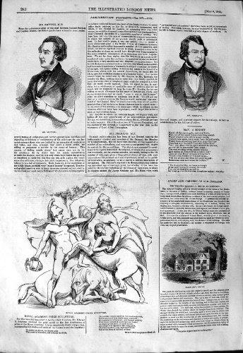 original old antique victorian print Académie 1844 de Sculpture en M. Smythe Ferrand Raleigh House [Cuisine et Maison] par original old antique victorian print