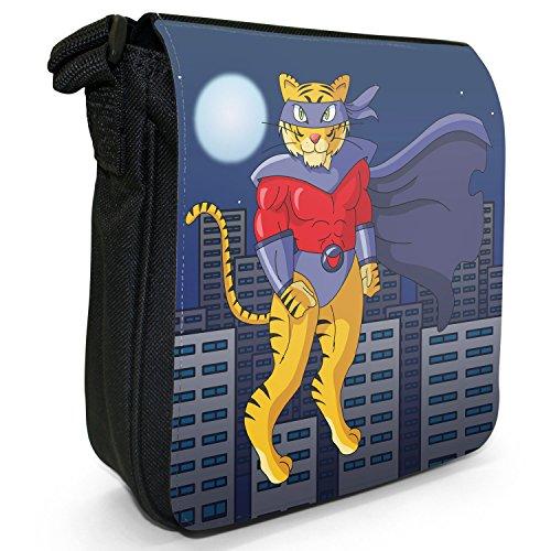 Superhero Action Hero Animals-Borsa a tracolla in tela, piccola, colore: nero, taglia: S Terrific Tiger Super Hero