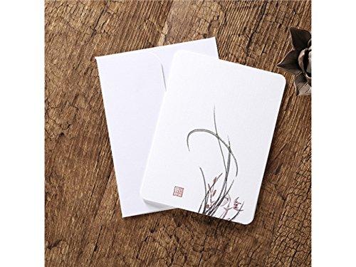 Suprerhoung biglietti d'auguri con buste biglietti d'auguri in bianco carte cinesi classiche stampa d'epoca floreale (canna)