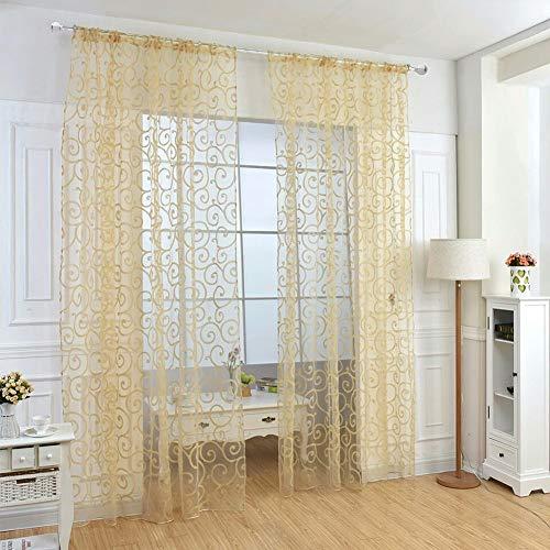 Y56 Transparent Vorhang Floral Schal Sheer Voile Tür Fenstervorhang Drapieren Panel Tüll Volants Divider Farbe Tulle Voile Vorhang Tür Fenster Vorhang Drape Panel Sheer Gardine (Gelb)