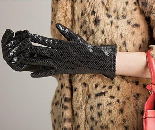GQQgloves Mouton de Serpentine de Lady Gants hiver cuir mode chaud noir Black