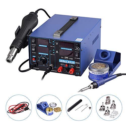 Yihua Stazione saldatore aria aria calda 3 in 1 stazione saldante con accessori Professionale 853D USB 2A