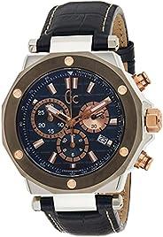 Gc Men's Quartz Watch,Chronograph Display, Leather Strap X7202