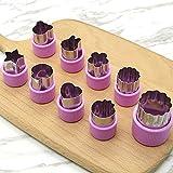 Verduras moldes formas molde Set (8 piezas) ¨CCortadores de Verduras Frutas en Forma de Flor, cortadores de galletas, cortadores de fruta galleta formas molde de silicona para pasteles(Rosado)